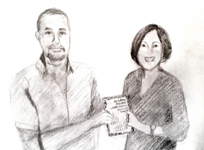 Adele Bryant and Vaghan Rapatahana sketched by Pauline Canlas Wu